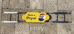 Vintage Pepsi Cola Soda Porcelain Door Push Bar Sign Country Grocery Store Coke