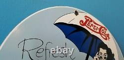 Vintage Pepsi Porcelain Glass Bottles Beach Beverage Coca Cola Service Sign