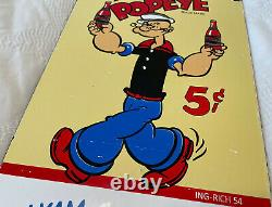 Vintage Popeye Soda Porcelain Sign As Station Advertisement Coca Cola Dr Pepper