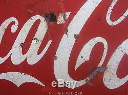 Vintage Porcelain Coca Cola Button Sign 36 Gas Station Soda Pump