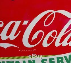 Vintage Porcelain Drink Coca-cola Fountain Service Advertising Sign Mint