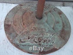 Vintage Porcelain Lollipop Coca Cola Sign withstand 1938 2 Sided Gas Station sign