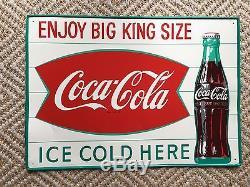 Vintage RARE 1960s Coca Cola Coke Big King Size Soda Ice Metal Tin Sign