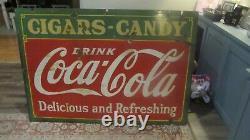 Vintage RARE Coca-Cola Metal Sign 1933 GAS OIL SODA COLA cigars & candy