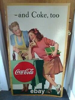 Vintage Rare 1946 COCA-COLA Soda Shop Cardboard Sign Free Shippping