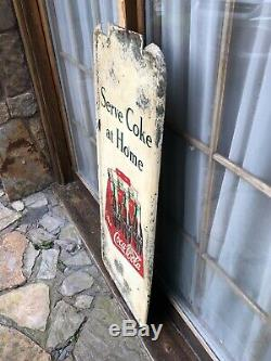 Vintage Rare 1947 Original Coca Cola Carton Pilaster Sign 41 x 16