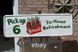 Vintage Rare 1950's Pick Up 6 Coca Cola Sign, Measures 50X16