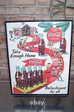 Vintage Rare 1953 Christmas Elf's Coca Cola Lithograph 20 X 15 Framed