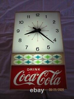 Vintage Rare Drink Coca Cola Electric Wall Clock lights up and works