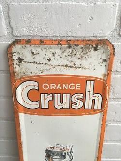Vintage Rare Orange Crush Sign Metal Sign Barker 1967 81/4x 351/4