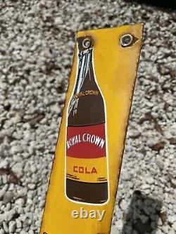 Vintage Royal Crown Soda Porcelain Door Push Gas Oil Coke Drink Advertising Sign
