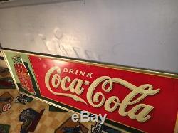 Vintage Tin Multi-bottle Embossed Coke Coca-Cola Sign