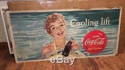 Vintage Two Sided 1958 Coca-cola Coke Cardboard Sign, 56 X 27