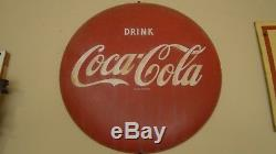 Vintage Used 1950's Coca-cola 16 Round Button Sign Am96 Porcelain Over Metal