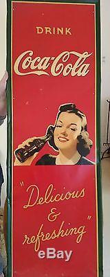 Vintage antique metal coca cola advert sign