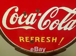 Vintage c. 1930 Coca Cola Metal Sign Lollipop curb general store-58 x 30