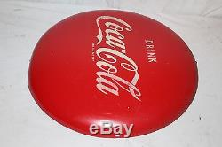 Vintage c. 1950 Drink Coca Cola Button Soda Pop 16 Curved Metal Sign
