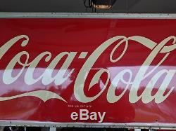 Vintage c. 1950's Coca Cola Soda Pop Bottle Metal Sign 54x18