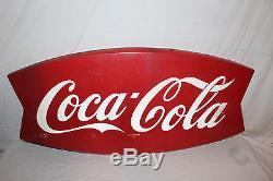 Vintage c. 1960 Coca Cola Fishtail Soda Pop 42 Metal Sign