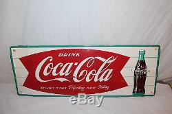 Vintage c. 1960 Coca Cola Fishtail Soda Pop Bottle 32 Metal Sign