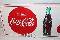 Vintage c. 1960 Coca Cola Soda Pop Bottle 32 Metal Sign