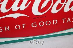 Vintage c. 1960 Drink Coca Cola Fishtail Soda Pop Bottle 32 Metal SignNice