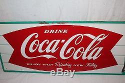 Vintage c. 1960 Drink Coca Cola Fishtail Soda Pop Bottle 32 Metal Sign