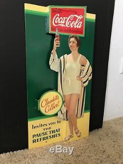Vintage coca cola cardboard sign
