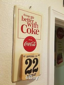 Vintage coca cola tin sign calendar, 1960s, original, with pad