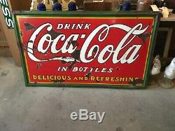 Vintage collectible 1934 single sided Coca Cola sign Dr. Pepper 7-UP Sprite