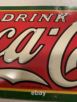 Vintage early 30s Dasco Embossed Coca-Cola sign 4 color