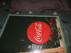Vintage early coca cola sign cardboard 36x20 inches