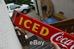 Vintage original Door push bar Coca Cola Porcelain Antique Soda Advertising sign