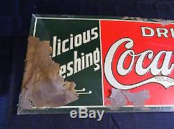 Vintage original embossed tin soda sign Coca Cola Coke near mint OUTSTANDING