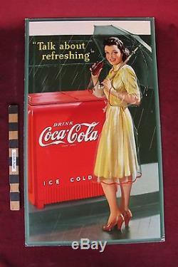 Vtg 1942 Coca-Cola Coke sign 27 USA made Soda nice