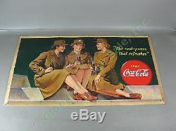 Vtg 1943 Drink Coca Cola Cardboard Litho Sign Advertising Poster 20x36 WWII Era