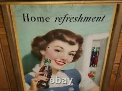 Vtg 1950 Coca Cola Home Refreshment Cardboard Lithograph Sign 16x27 Kay Display