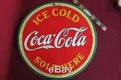 Vtg Coca Cola 19 Ice Cold Sold here Coke Tin sign nice