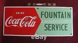 Vtg Coca Cola 28 Porcelain Fountain Service Coke Tin sign nice