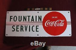 Vtg Coca Cola 29 Porcelain Fountain Service Coke Tin sign nice