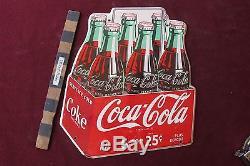Vtg Drink Coca-Cola 6 for 25 cent sign soda 12 Coke nice