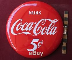 Vtg Drink Coca-Cola Porcelain Button type sign soda 5 cents 16 Coke nice