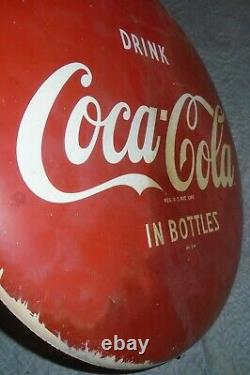 Vtg Drink Coca-Cola in Bottles Button Sign 16