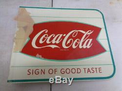 Vtg NOS 1950's-60's Coca-Cola Soda Fish Tail Coke AM11 Advertising Flange Sign