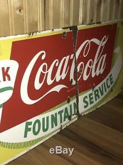 Vtg ORIGINAL Coca Cola Coke Fountain Service Porcelain Sign