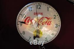 Vtg PAM Clock Co. Coca Cola Coke soda sign 14 1/2 (Clock needs repair)