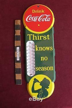 Vtg Porcelain Drink Coca-Cola Coke Thermometer sign 18 nice