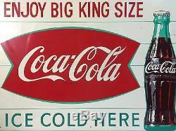 Vtg RARE 1960s Coca Cola Coke Big King Size Soda Ice Metal Tin Advertising Sign