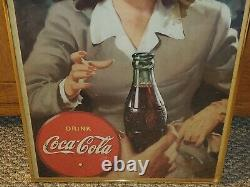 Vtg Wwii 1944 Coca Cola Choice Thank You Cardboard Lithograph Sign Framed 16x27