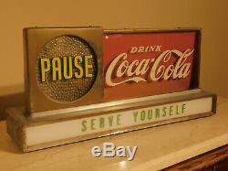 WORKING Coca Cola Lighted Motion Advertising Counter-top Sign Vintage 1950's Cok